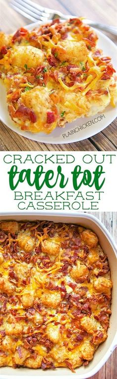 Cracked Out Tater Tot Breakfast Casserole - great make ahead recipe! Only 6 ingredients!! Can refrigerate or freeze for later. Great for breakfast. lunch or dinner. Everyone loves this easy breakfast casserole!!