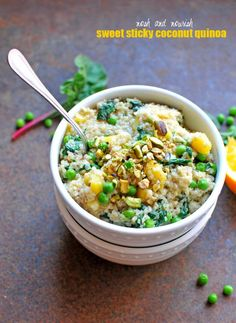 Sweet Sticky Coconut Quinoa // via Nosh and Nourish #recipe #vegan #lovemysilk