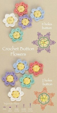 Crochet button flowers diagram (chart o pattern). You can make this flowers with 2 and 4 holes buttons!Crochet Button Flowers - Chart only, thanks so for sharing xoxThis is a simple and quick tutorial on how to crochet a 5 Petal Crochet Button Flower. Crochet Double, Love Crochet, Diy Crochet, Single Crochet, Crochet Diagram, Crochet Chart, Crochet Motif, Crochet Stitches, Diagram Chart