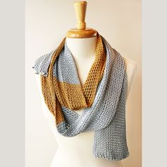 Knit Scarf  Color Blocked Fall Wrap in Pure by TickledPinkKnits