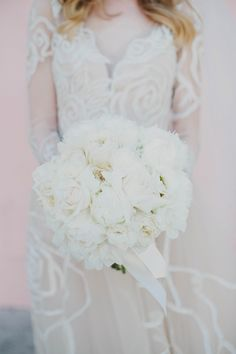 All white peony bouquet - Katie Pritchard Photography