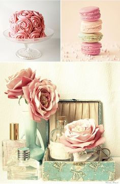 Soft Rose Pink And Mint Green Wedding Theme. I like the flowers and perfume box pic....not the cake or cookies pic. by dianne