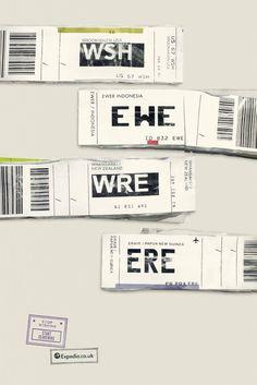 La campagna di #Expedia realizzata da #Ogilvy utilizza i codici aeroportuali per creare frasi a tema #viaggio: molto creativa!