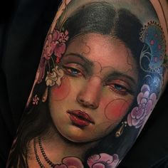 Tattoo by Aimee Cornwell Time Tattoos, Body Art Tattoos, Sleeve Tattoos, Portrait Tattoos, Arabic Tattoos, Traditional Ink, Neo Traditional Tattoo, Great Tattoos, Unique Tattoos