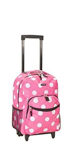 Rockland Girls Luggage 17 Inch Rolling Backpack Pink Dot Product Description: Rolling backpack with double skate wheels. Measures 13 inch lx10 inch wx17 inch h. Features include 2 zippered pockets on the front of the bag with one having a bui...