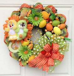 Easter Wreath Disney Chip and Dale by SparkleForYourCastle on Etsy, $89.00