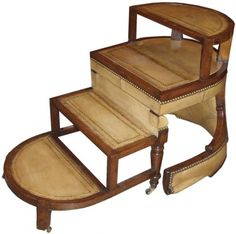 """An 18th Century French Elm """"Mechanique"""" Step Ladder Chair"""