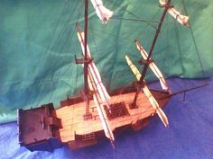 Scratchbuilt Vintage Small Wooden Pirate Vessel Model For Pirates with Small Spaces..;)