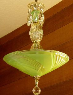 Vintage Chandelier Jadite Art Deco Chandelier Antique Ceiling Light Rewired Gorgeous Color Pristine Condition very Pretty #artdeco
