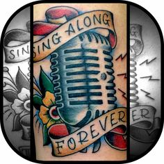 Sing along forever tattoo by Bryan Kienlen of the bouncing souls. Bouncing souls tattoo. Vintage microphone tattoo