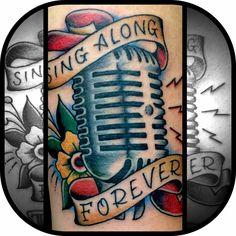 Sing along forever tattoo by Bryan Kienlen of the bouncing souls. Bouncing souls tattoo. Vintage microphone tattoo