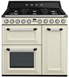This brand new retro style, free standing range cooker is finished in cream and comes with 1 year parts and labour warranty. Features manual controls, digital timer and multi burner hob. Stainless Steel Grill, Stainless Steel Doors, Kitchen Stove, Kitchen Appliances, Kitchens, Smeg Range, Dual Fuel Range Cookers, Door Grill, Cast Iron Wok