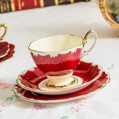Striking ruby red/ bright maroon Royal Albert harlequin tea trio, a lovely teacup to sip tea from