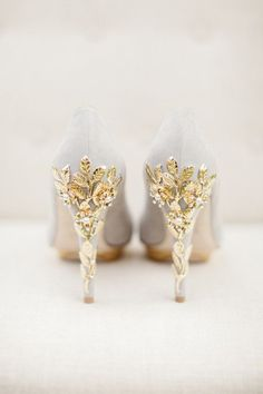 Harriet Wilde wedding shoes with delicate leaves and cherry blossom flowers heel embellishments