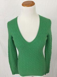 J Crew Green 100 Cashmere Cableknit V Neck Sweater Women's M | eBay