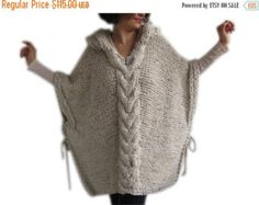 Plus Size Maxi Knitting Poncho with Hoodie - Over Size Tweed Beige Cable Knit by Afra Poncho Au Crochet, Knitted Cape, Hand Crochet, Hand Knitting, Knit Crochet, Knitting Yarn, Tweed, Yarn Colors, Crochet Clothes