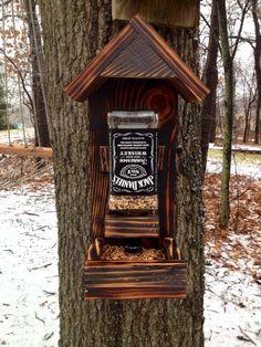 Jack Daniels bird feeder whiskey bottle bird feeder