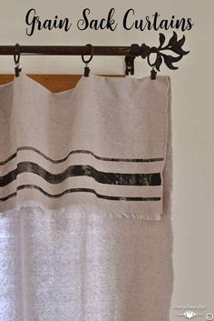 Grain Sack Inspired Curtains - Country Design Style - How to make grain sack curtains from drop cloth and NO SEW! No Sew Curtains, Drop Cloth Curtains, Burlap Curtains, How To Make Curtains, Curtains Living, Rod Pocket Curtains, Hanging Curtains, Bathroom Curtains, Blackout Curtains