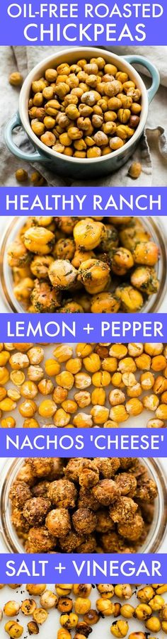 Healthy Oil-Free Roasted Chickpeas + 4 FLAVORS! (V, GF, DF)- Easy, crispy and completely OIL-FREE chickpeas which are seriously addictive and customizable- The perfect snack! {vegan, gluten free, grain free recipe}- thebigmansworld.com