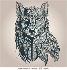 Ornamental vintage wolf predator, black and white tattoo, decorative retro style. Isolated vector illustration