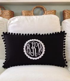 Monogrammed Pique Pom Pom Pillow Cover by peppermintbee on Etsy https://www.etsy.com/listing/212548649/monogrammed-pique-pom-pom-pillow-cover