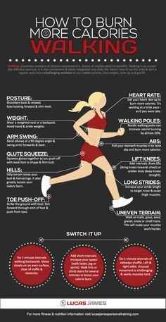 Tweet Tweet Staying active on a daily basis is important if you want to stay healthy. Unfortunately, most of us don't have all day long to walk or run. Want to be able to burn more calories walking? This infographic by Lucas James shows you how: