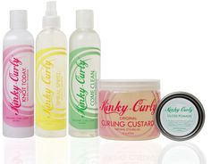 Kinky Curly products - Come Clean Shampoo, Knot Today Leave-In Conditioner, Curling Custard - Great wash-n-go curls!!