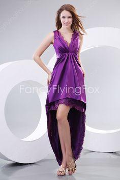 Fantastic Purple High-low V-neckline Prom Gown