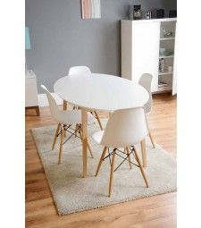 Tretton White Round Dining Table & Eames White Replica DSW Chairs 120 cm diameter No padding on seats Kitchen Table Bench, Furniture Dining Table, Dining Furniture, Dining Tables, Dining Rooms, Modern Furniture, White Oval Dining Table, White Wooden Chairs, Sofa Design