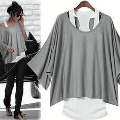 Women's Casual Loose-fitting Batwing Suit (T-shirt & Vest) 2016 - $12.99