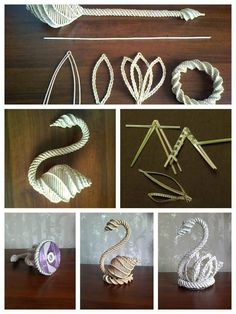 Cigno con cannucce di carta Straw Weaving, Paper Weaving, Basket Weaving, Newspaper Basket, Newspaper Crafts, Hobbies And Crafts, Crafts To Do, Arts And Crafts, Plastic Lace Crafts