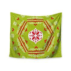 """Miranda Mol """"Snowjoy Green"""" Red Wall Tapestry"""