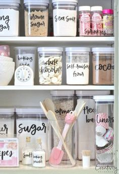 Label Clear Storage Containers for Pantry or Cabinets - Creative Kitchen Organization Ideas