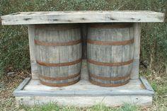 Rustic Barrel Bar--cut storage doors as well--perfect for back deck