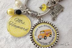 Personalized School BUS DRIVER Key Chain Gift by MagnoliaTreeandCo