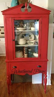 I wonder if my china cabinet and dining room table/chair  legs would look good this color. Hmmm.   China Cabinet Makeover — American Paint Company