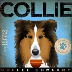 Collie coffee company original graphic illustration giclee archival print 12 x 12 by gemini studio. $39.00, via Etsy.