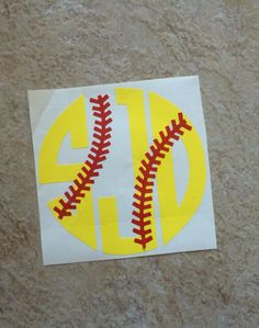 Personalized Vinyl Monogram Softball Car Decal With Laces-Sports-Softball-Athletic-Athlete-Baseball-Bat-Glove-Softball Laces by HappyAsALarkBoutique on Etsy https://www.etsy.com/listing/254605979/personalized-vinyl-monogram-softball-car