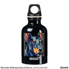 Muscular doberman dog on faux silver striped frame aluminum water bottle Aluminum Water Bottles, Steel Water Bottle, Sigg Bottles, Mouth Mask Fashion, Doberman Dogs, Gifts For Dog Owners, Bff Gifts, Dog Pattern, Online Gifts
