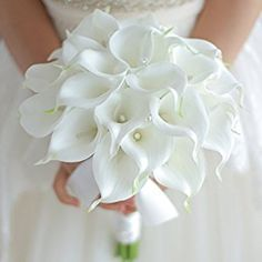 Amazon.com: IFFO Bride holding flowers, high simulation pu calla lily bouquet, and never withered bouquet, bridesmaids bouquets: Home & Kitchen