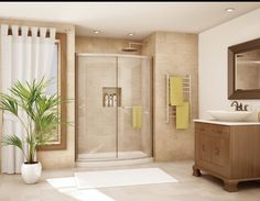 "Fleurco Shower & Tub Enclosures  Semi-frameless curved bowfront shower door enclosure with sliding glass doors. This 60"" wide design is great for a bath to shower conversion where someone does not want to have to step over a tub rail."