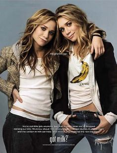 Mary Kate and Ashley Olsen  I've always loved this pic of them & I love their hair