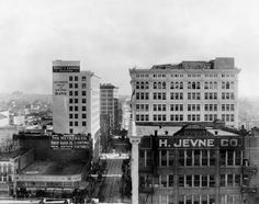 1913 - Wilcox Building and H. Jevne Co. Grocer (40 Spring Street from 1882, then 208 S. Spring in 1909) (LAPL)