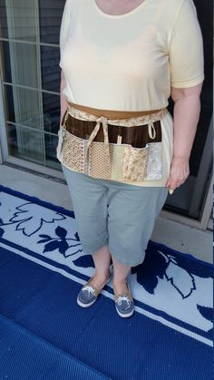 Craft apron in neutral shades of brown and tan with pockets by LadyInStitches on Etsy