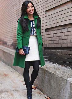 Black Tights:green coat