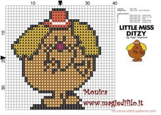 Little Miss Ditzy (Mr. Small Cross Stitch, Cross Stitch For Kids, Cross Stitch Designs, Cross Stitch Patterns, Hama Beads, Cross Stitching, Cross Stitch Embroidery, Pixel Crochet Blanket, Mr Men Little Miss