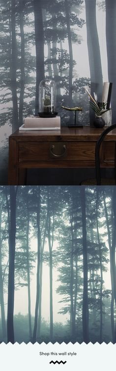 The Sea of Trees forest wallpaper by MuralsWallpaper has been styled here by a customer as part of a small and cosy home office area. We love the vintage vibes and dark color aesthetic! Great inspiration for your own study space. Forest Wallpaper, Tree Wallpaper, Dark Wallpaper, Wallpaper Murals, Forest Mural, Tree Forest, Scenery Photography, Client, Dark Colors