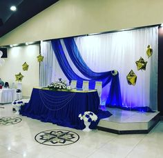 Royal Blue Wedding Decorations, Wedding Reception Backdrop, Royal Blue And Gold, August Wedding, Blue Wedding Dresses, Backdrops, Weddings, Man Birthday, Graduation Ideas