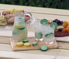 Lemon Lime Pitcher and Drinking Glass Set for 1:6 Scale Fashion Dolls