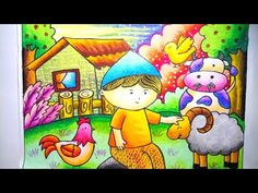 Drawing Farm, Drawing farm Scenery, How to draw farm Oil Pastel Art, Oil Pastel Drawings, Pencil Art Drawings, Oil Pastels, Art Drawings For Kids, Drawing For Kids, Easy Drawings, Digital India Posters, Bird Paintings On Canvas